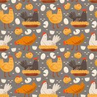 Hen, bird, cock, chicken, egg, nest. Eco food production. Seamless pattern, texture, background. vector