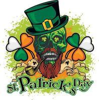 Cráneo de San Patricio con sombrero verde, camisetas de diseño vintage grunge vector