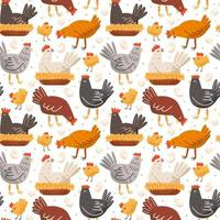 Hen, bird, cock, chicken, chick, egg, nest. Poultry farm, countryside life. Seamless pattern, texture, background. Packaging design. vector