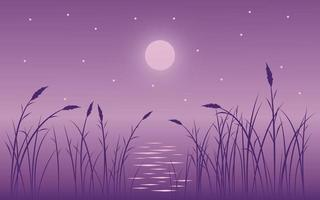 Vector Beautiful Night with Grass