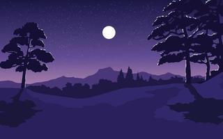 hermoso bosque paisaje a la luz de la luna vector