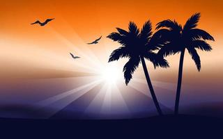 paisaje tropical con amanecer, pájaros y palmeras. vector