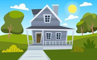 Wooden Cartoon Country House vector