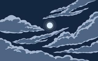 Night Clouds moonlight Illustration vector