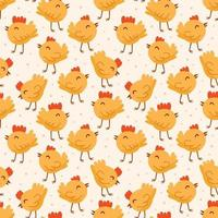 Bird, chicken, chick. Easter domestic animals, pets. Seamless pattern, texture, background. vector