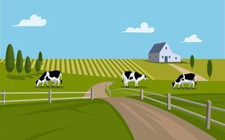 rancho de campo de vector con granero y vacas