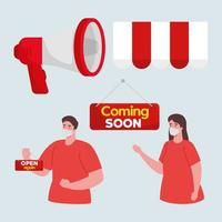 coming soon and open again labels, with couple wearing medical mask vector