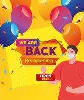 Reopening business banner with man wearing face mask vector