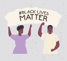 black lives matter with couple holding a banner, stop racism concept vector