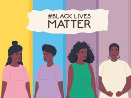 black lives matter banner with young people, stop racism concept
