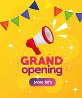 Reopening business banner with megaphone and garlands decoration vector