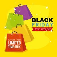 cartel de viernes negro con bolsa de compras vector