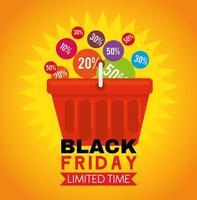 Cartel de viernes negro con precios en un diseño de vector de cesta