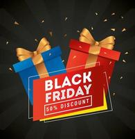 black friday poster with gifts vector