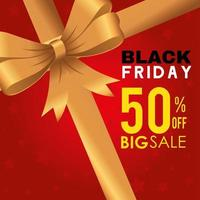 black friday poster with ribbon vector