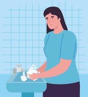 mujer lavándose las manos vector