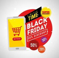 black friday poster with smartphone vector