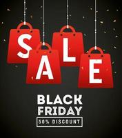 black friday poster with shopping bags vector