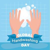 Global handwashing day banner with soap foam vector