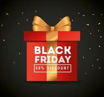 black friday poster with gift vector design