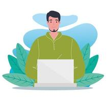 young man using laptop with tropical leaves vector