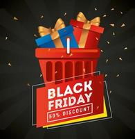 black friday poster with gifts in a basket vector design