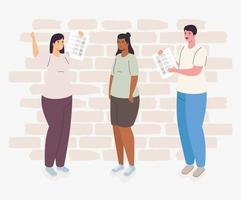 People with voting papers vector