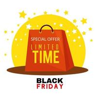 black friday poster with shopping bag vector