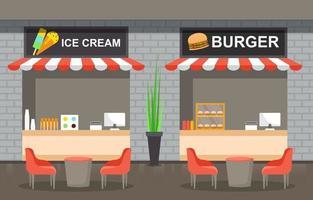 interior del patio de comidas con restaurantes de helados y hamburguesas con mesas y sillas vacías vector