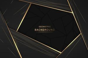 Web Luxurious black background with a combination of gold shining in a 3D style. Graphic design element. Elegant decoration. EPS 10 vector