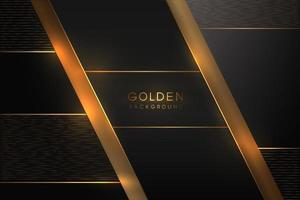 Luxurious black background with a combination of gold shining in a 3D style. Graphic design element. Elegant decoration. EPS 10 vector