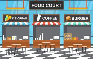 Food Court Interior with Ice Cream and Burger Restaurants with Empty Tables and Chairs vector