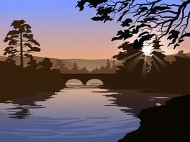 río y puente al amanecer ilustración vector