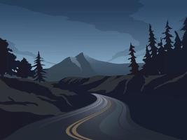Vector Night Landscape with Empty Highway and Forest