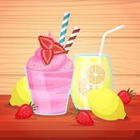 helado y limonada en vasos con pajitas vector