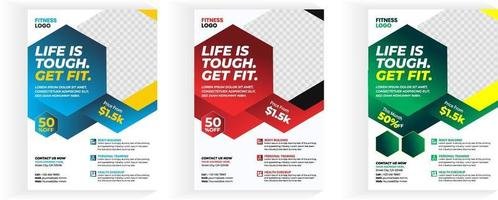 Fitness Gym Flyer Template, 3 color fitness body building and gym flyer A4 size template vector