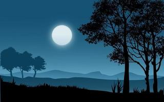 Vector Moonlight Illustration with Forest