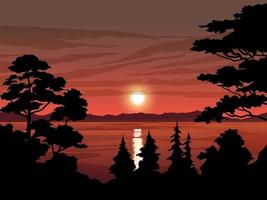 Vector Landscape of Trees and Lake on Sunset