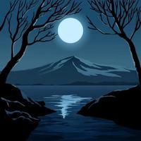 Vector Night Illustration with Mountain