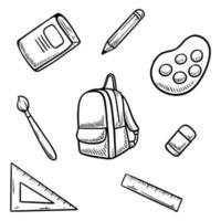 back to school doodle set vector illustration