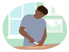 Flat vector illustration man character cheerful preparing cooking food at home. Proper nutrition, boy cooks in the kitchen. Cuts vegetables for salad.