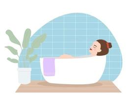 Vector illustration of a beautiful young tired girl takes a bath after a busy day. Everyday life and everyday life in a flat style. A woman relaxes in the bathroom with a Scandinavian style home plant
