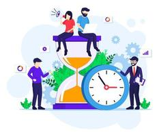 Time management concept with people working near a big clock and hourglass flat vector illustration