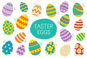 Easter eggs set doodle and color style. Happy easter colorful flat design isolated on white background. vector