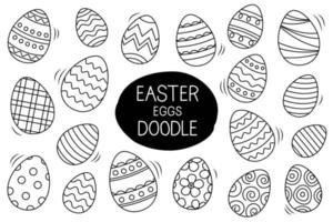 Easter eggs set doodle style. Happy easter hand drawn isolated on white background. vector
