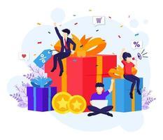 Loyalty marketing program, People near big gift boxes, discounts, rewards card points, and bonuses flat vector illustration