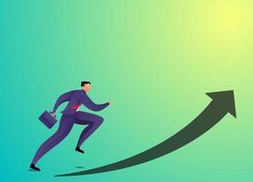 concepto de empresario ejecutar siguiendo la ilustración de vector de signo de flecha