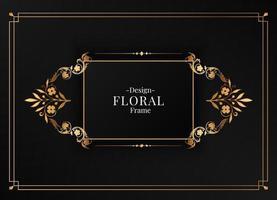 rectangle floral frame vector