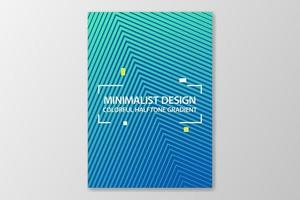 Minimalist cover design blue colorful halftone gradient. vector