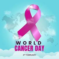 4 february world cancer day vector. blue sky background design vector